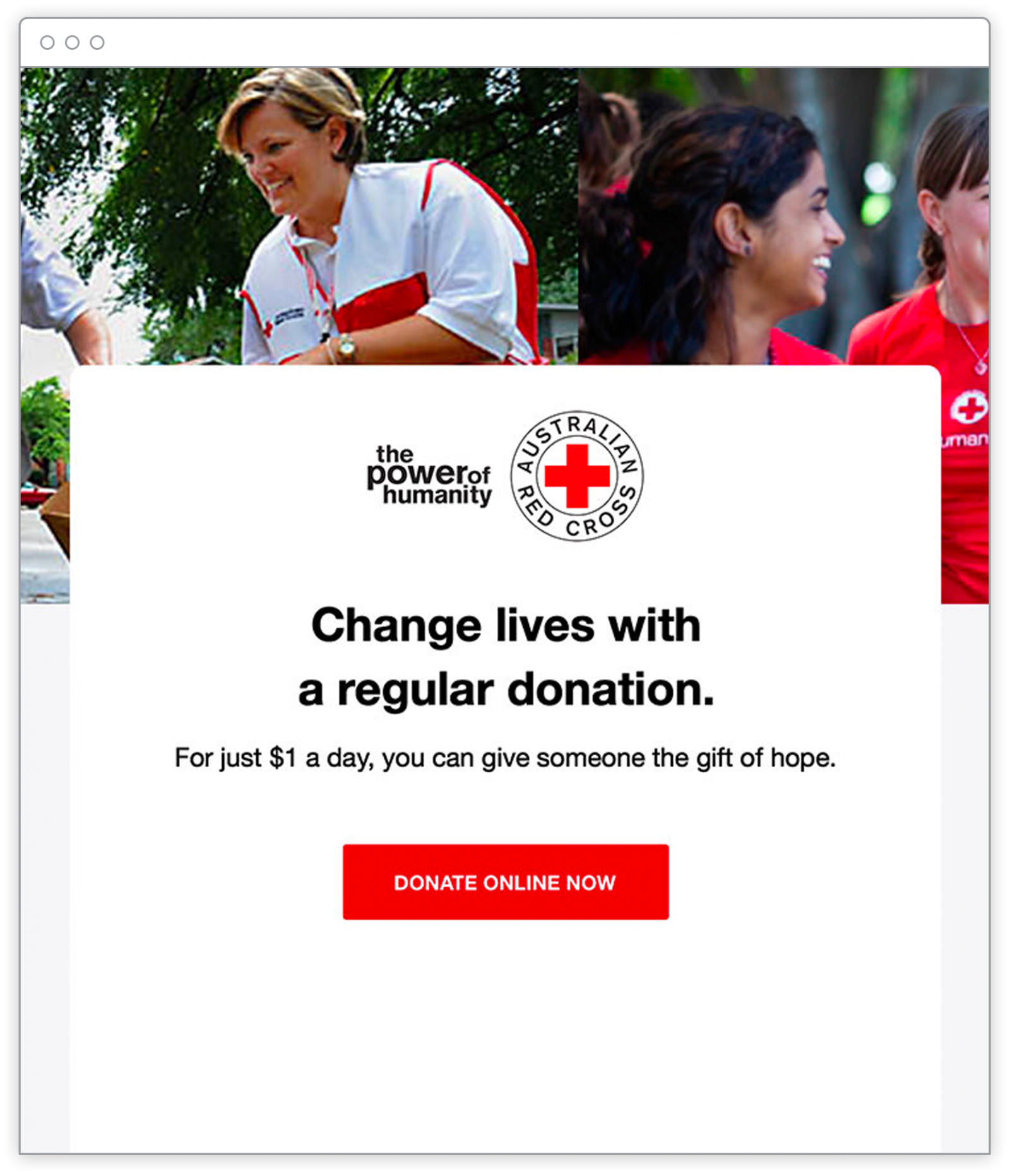 Screenshot of an Australian Red Cross email marketing template.