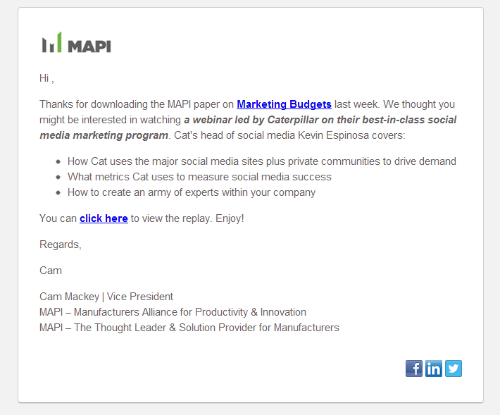 Screenshot of an email marketing example from the nonprofit Manufacturers Alliance for Productivity and Innovation.