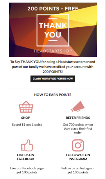 Customer loyalty email example from Headstart Shop.