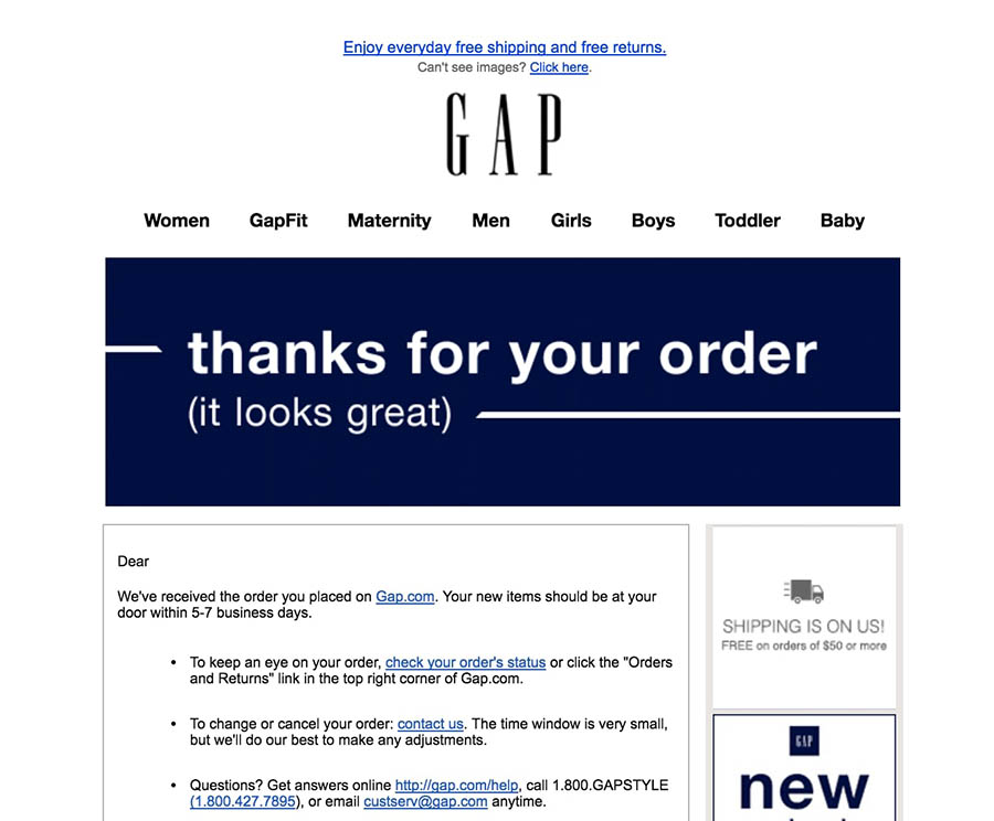 Example of a customer loyalty email from The Gap.
