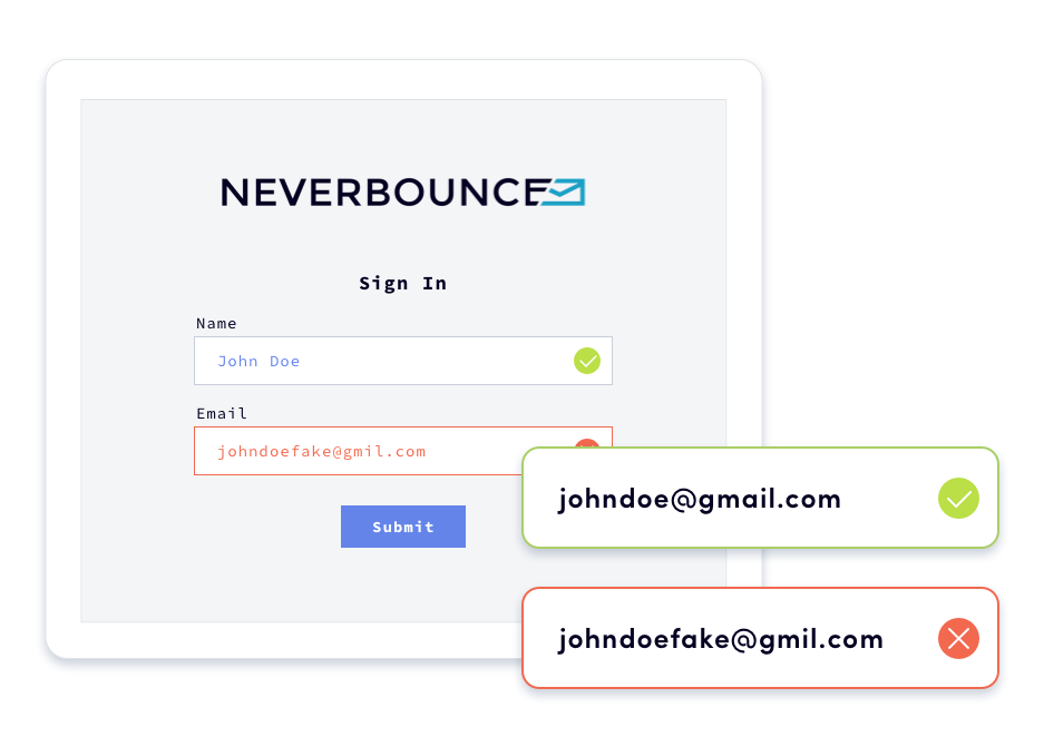 Screenshot of NeverBounce's real-time email verification javascript widget.